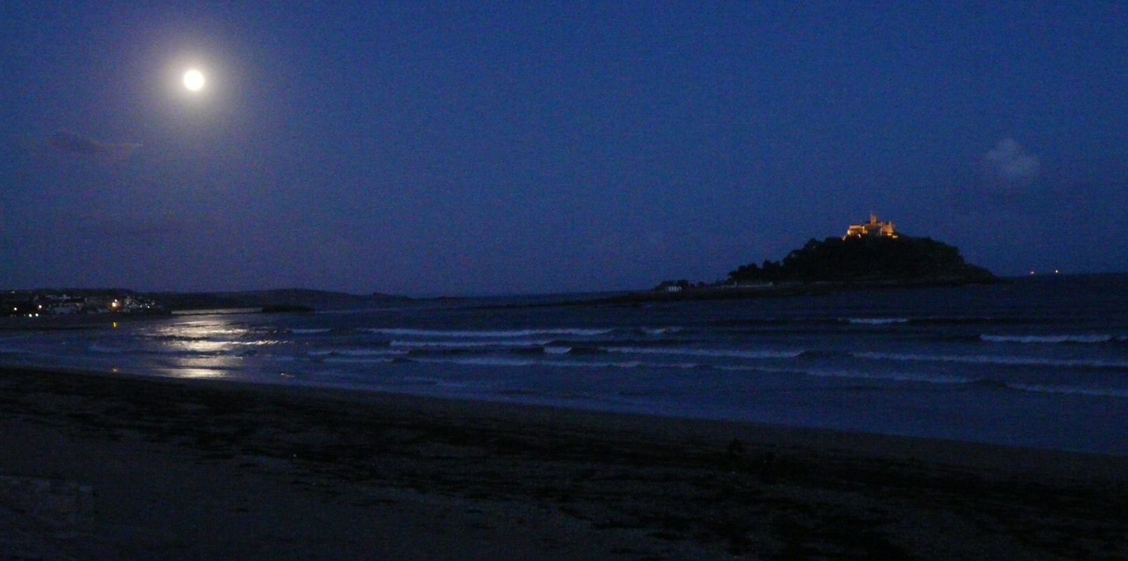 St Michaels Mount Cornwall by moon light